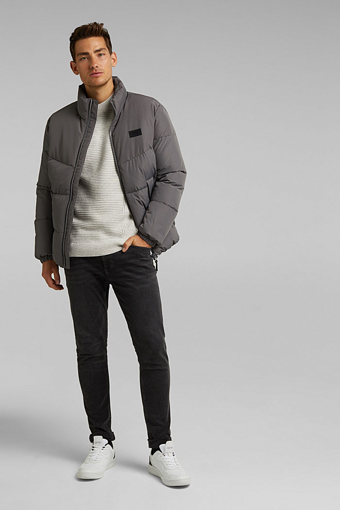 Recycled: padded quilted jacket, DARK GREY, detail image number 1