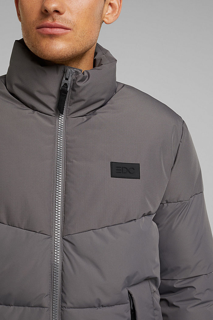 Recycled: padded quilted jacket, DARK GREY, detail image number 2