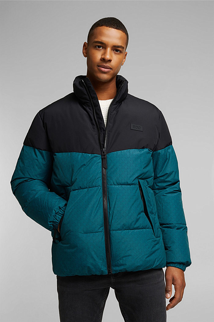 Recycled: padded quilted jacket, DARK TEAL GREEN, detail image number 0