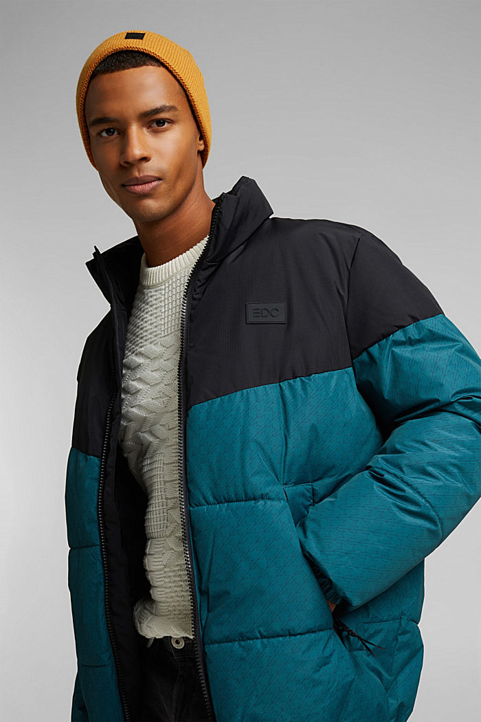 Recycled: padded quilted jacket, DARK TEAL GREEN, detail image number 4
