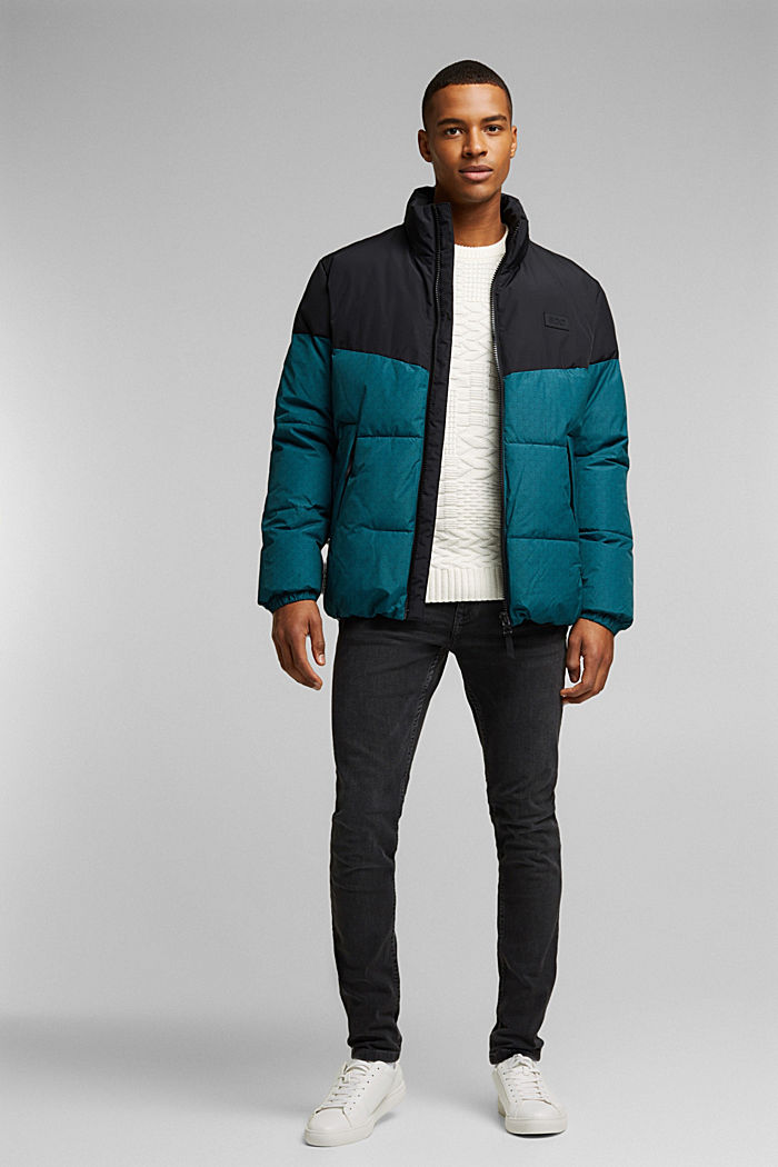 Recycled: padded quilted jacket, DARK TEAL GREEN, detail image number 1