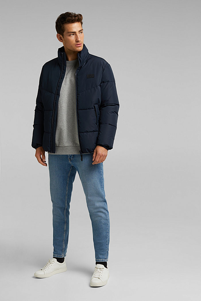 Recycled: padded quilted jacket, DARK BLUE, detail image number 1
