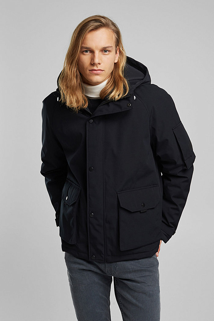 Nylon parka with a hood, BLACK, detail image number 0