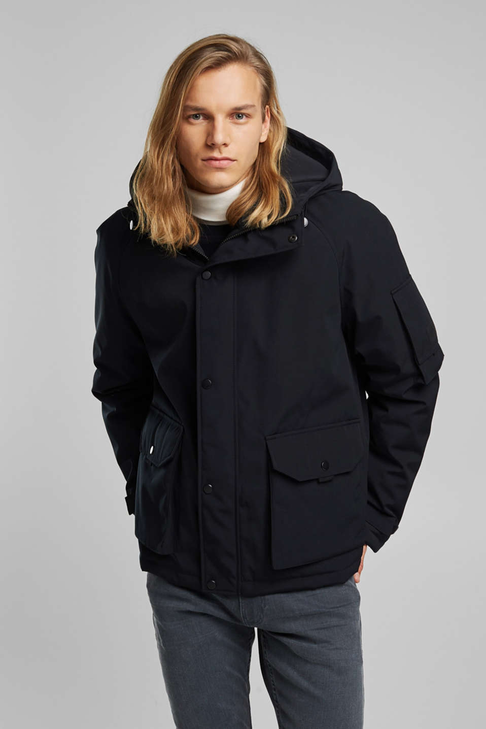 edc - Nylon parka with a hood