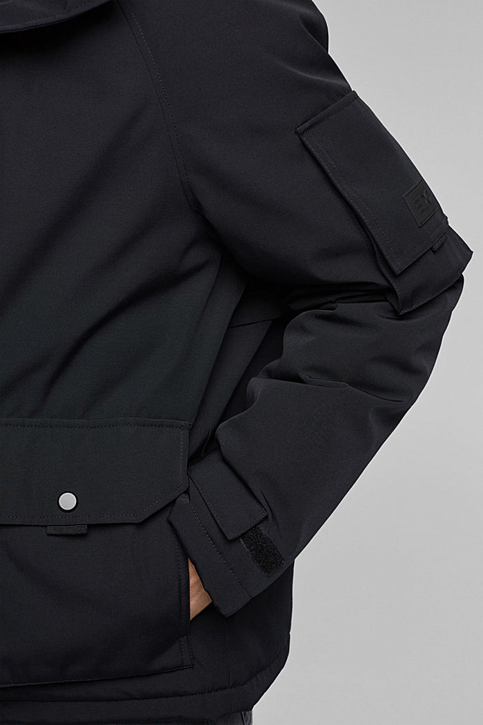 Nylon parka with a hood, BLACK, detail image number 5
