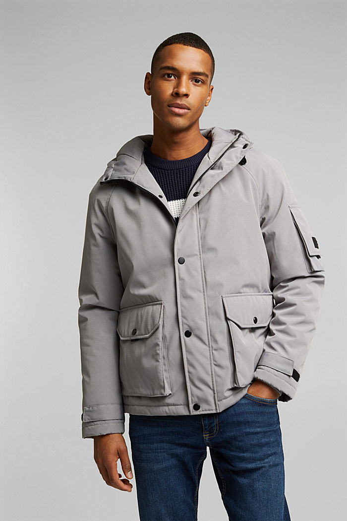 Nylon parka with a hood, GREY, detail image number 0