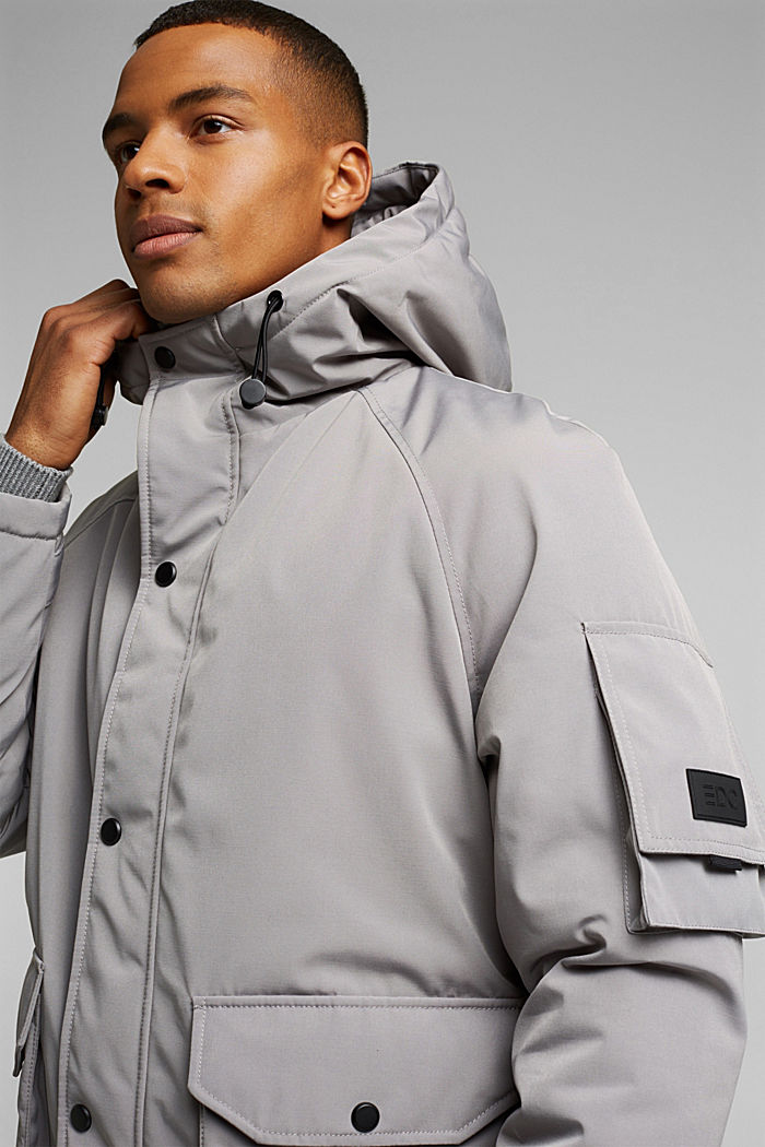 Nylon parka with a hood, GREY, detail image number 4