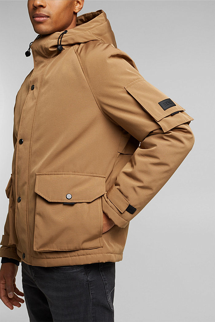Nylon parka with a hood, CAMEL, detail image number 2