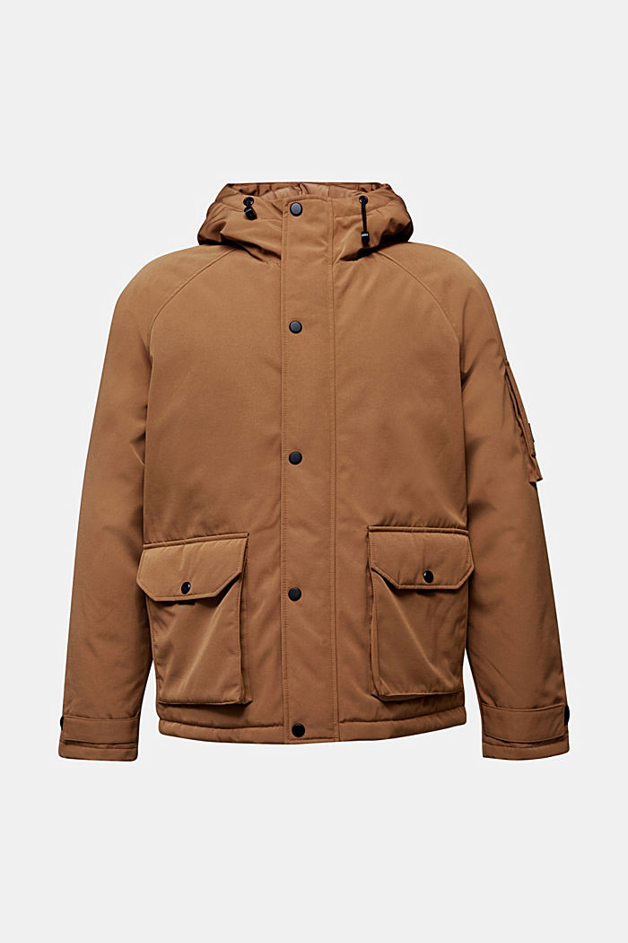 Nylon parka with a hood, CAMEL, overview