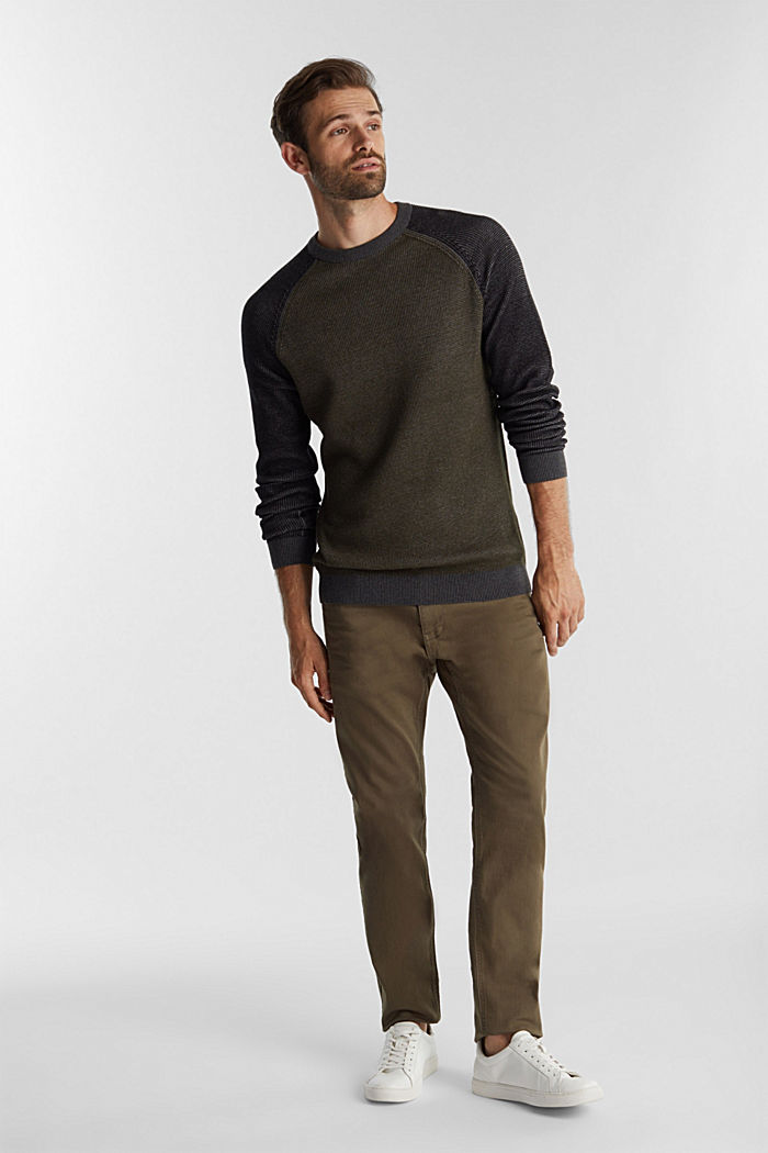 Pullover aus 100% Organic Cotton, KHAKI GREEN, detail image number 1