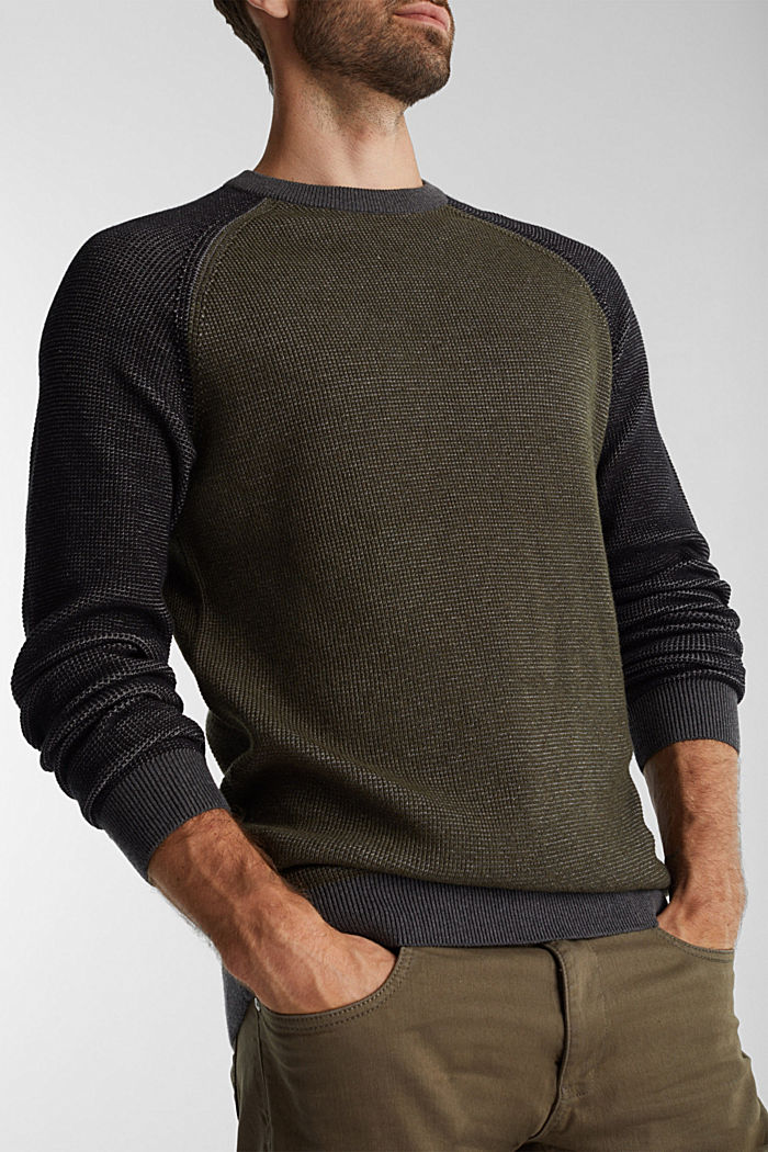 Pullover aus 100% Organic Cotton, KHAKI GREEN, detail image number 2