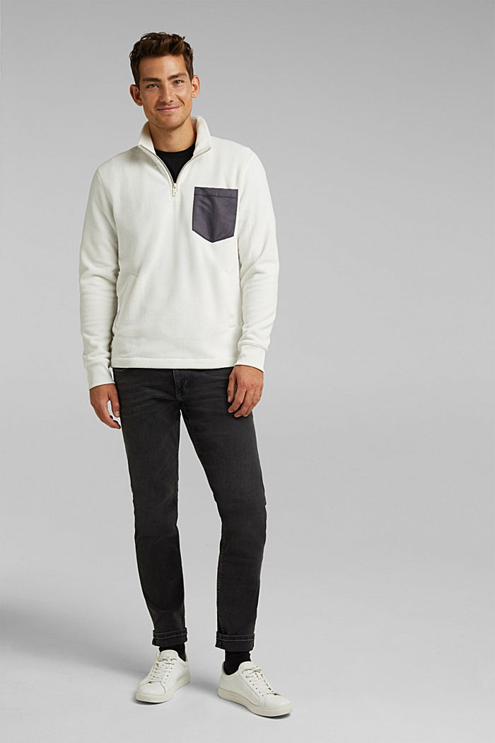 Fleece sweatshirt, OFF WHITE, detail image number 1