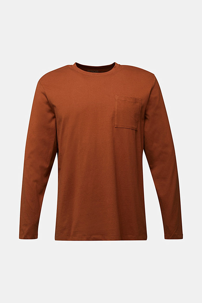 Long sleeve top made of 100% organic cotton, CARAMEL, overview