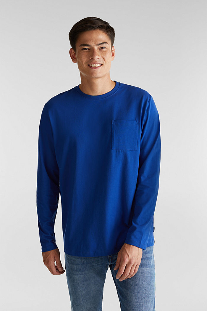Long sleeve top made of 100% organic cotton, BLUE, detail image number 0