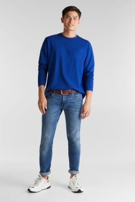 Long sleeve top made of 100% organic cotton, BLUE, detail