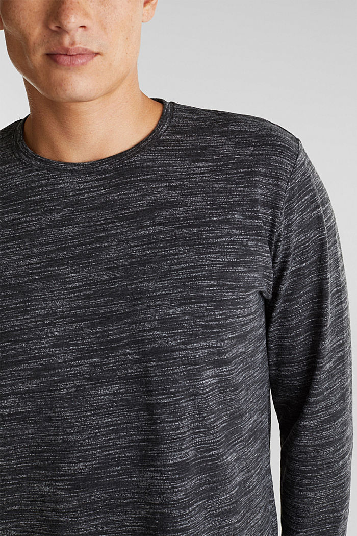 Jersey long sleeve top with organic cotton, BLACK, detail image number 1