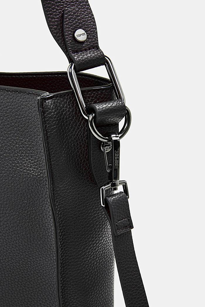 Vegan: faux leather shoulder bag, BLACK, detail image number 3
