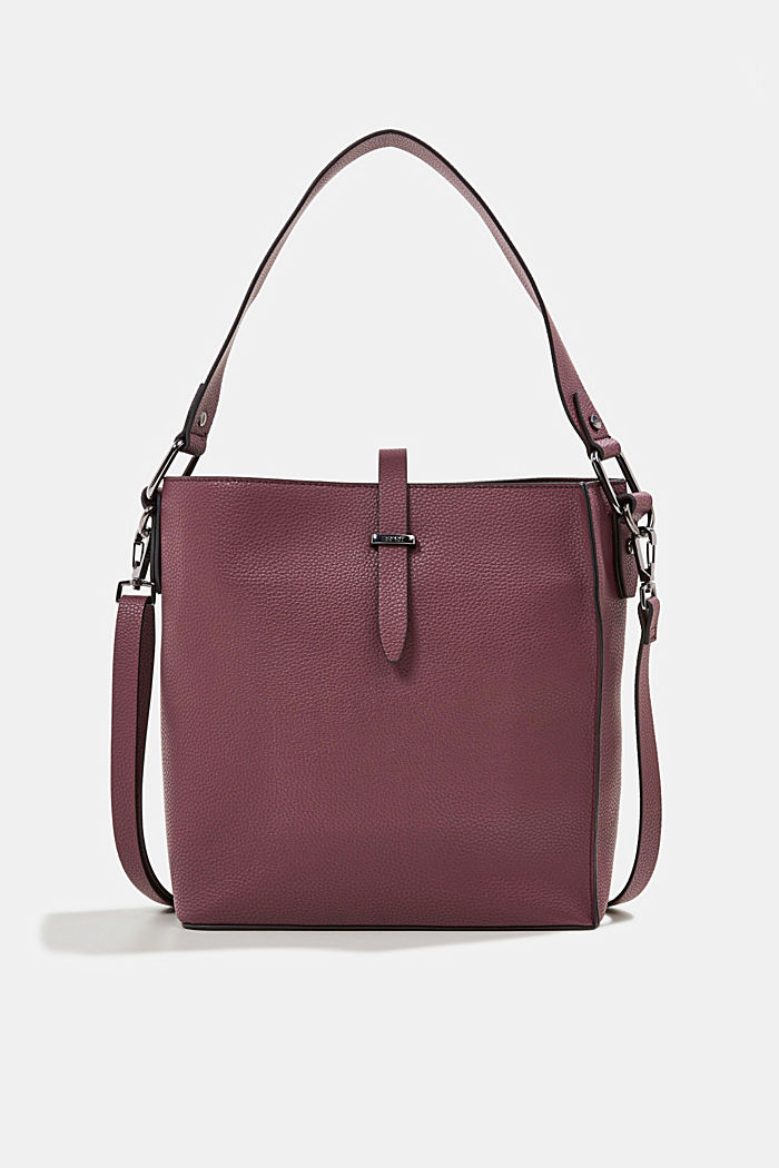 Vegan: faux leather shoulder bag, BORDEAUX RED, detail image number 0