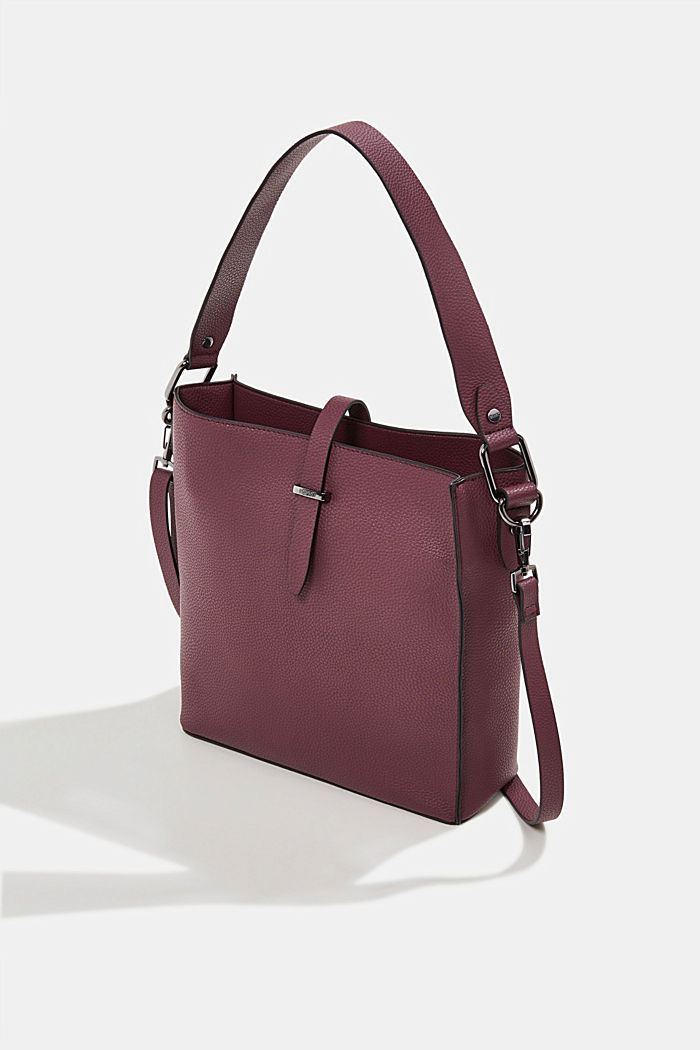 Vegan: faux leather shoulder bag, BORDEAUX RED, detail image number 2