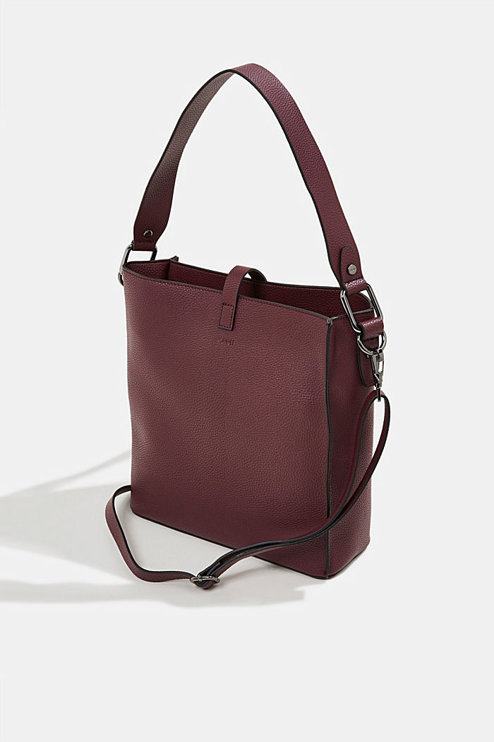 Vegan: faux leather shoulder bag, BORDEAUX RED, detail image number 4