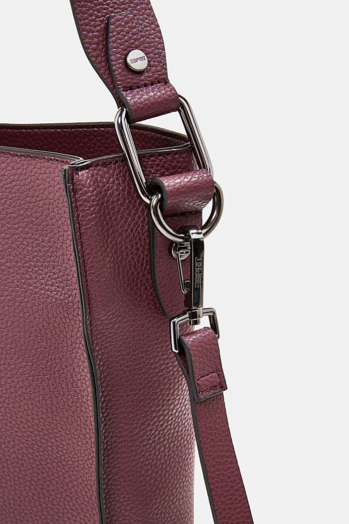 Vegan: faux leather shoulder bag, BORDEAUX RED, detail image number 3