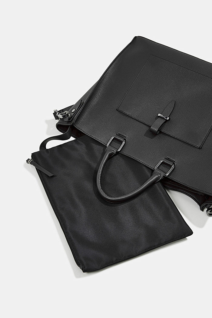 Vegan: Business bag with a laptop pouch, BLACK, detail image number 6