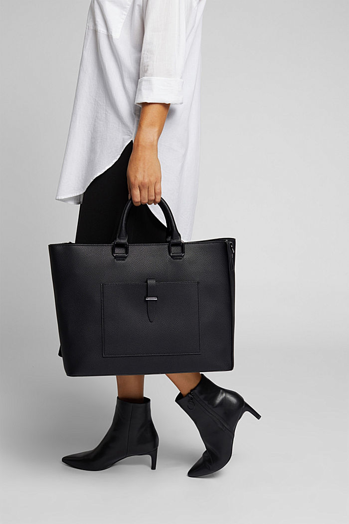 Vegan: Business bag with a laptop pouch, BLACK, detail image number 1