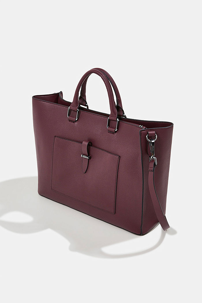 Vegan: Business bag with a laptop pouch, BORDEAUX RED, detail image number 2
