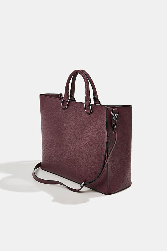 Vegan: Business bag with a laptop pouch, BORDEAUX RED, detail image number 5