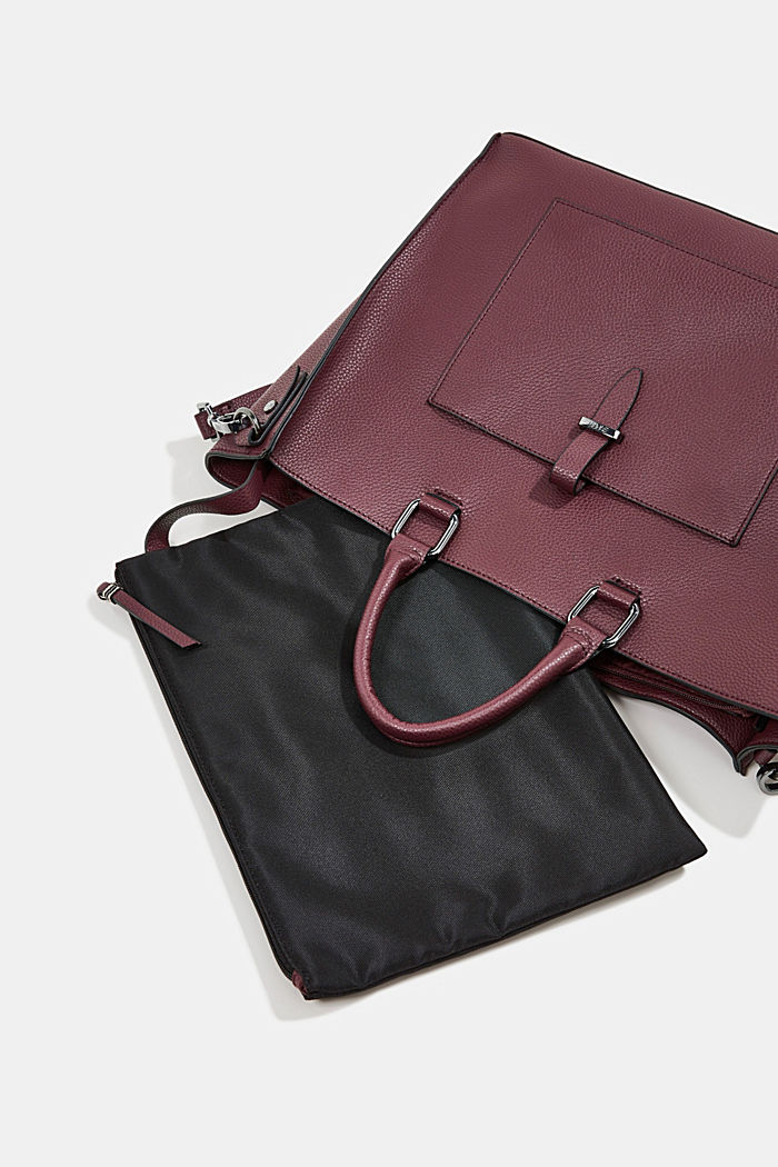 Vegan: Business bag with a laptop pouch, BORDEAUX RED, detail image number 6