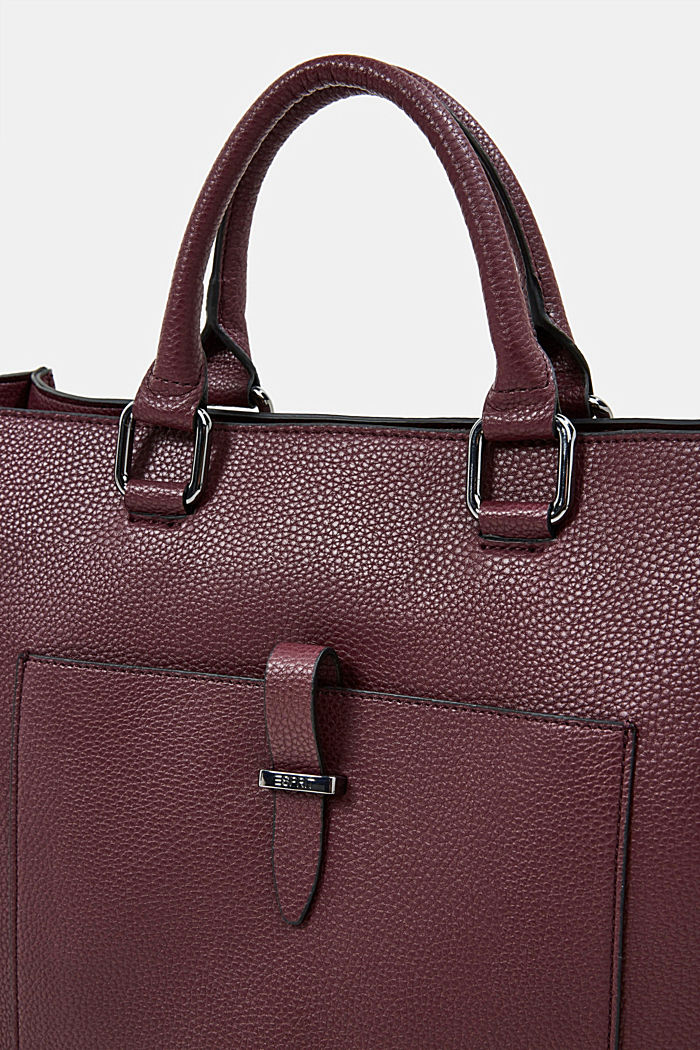 Vegan: Business bag with a laptop pouch, BORDEAUX RED, detail image number 3