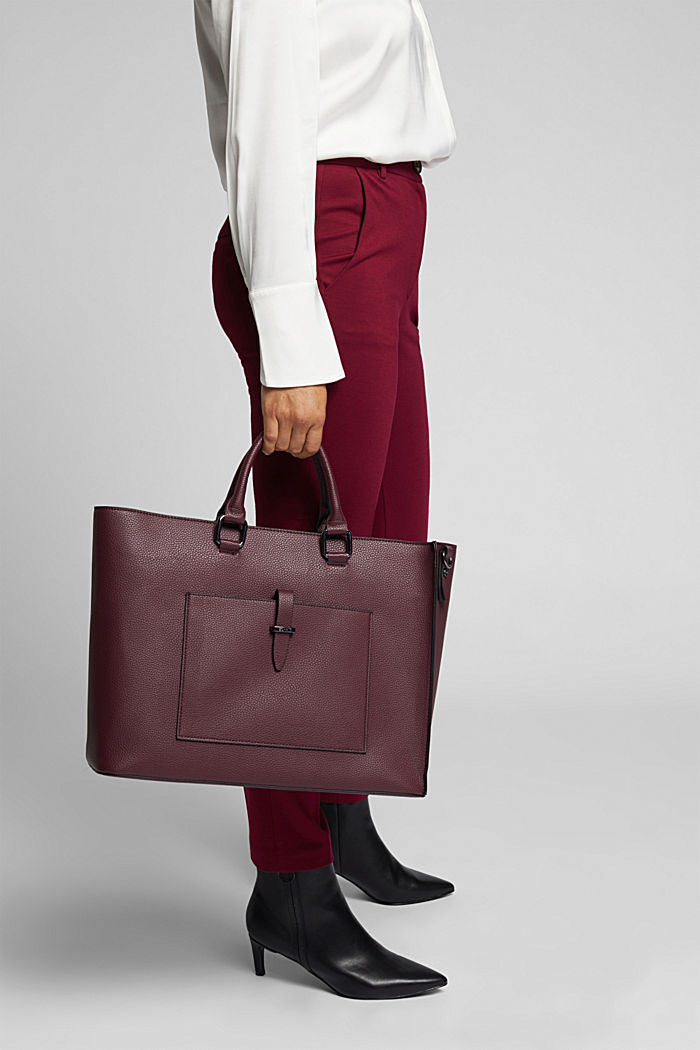 Vegan: Business bag with a laptop pouch, BORDEAUX RED, detail image number 1