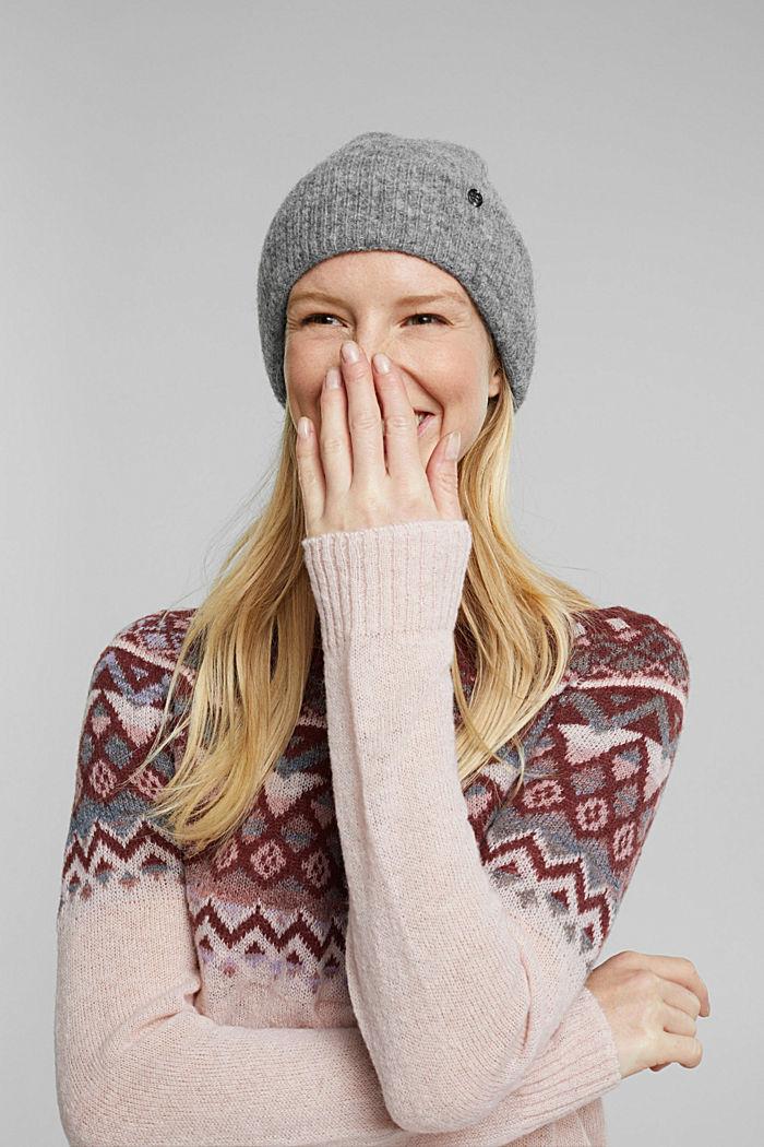 Wool blend: alpaca blend beanie, GUNMETAL, detail image number 3