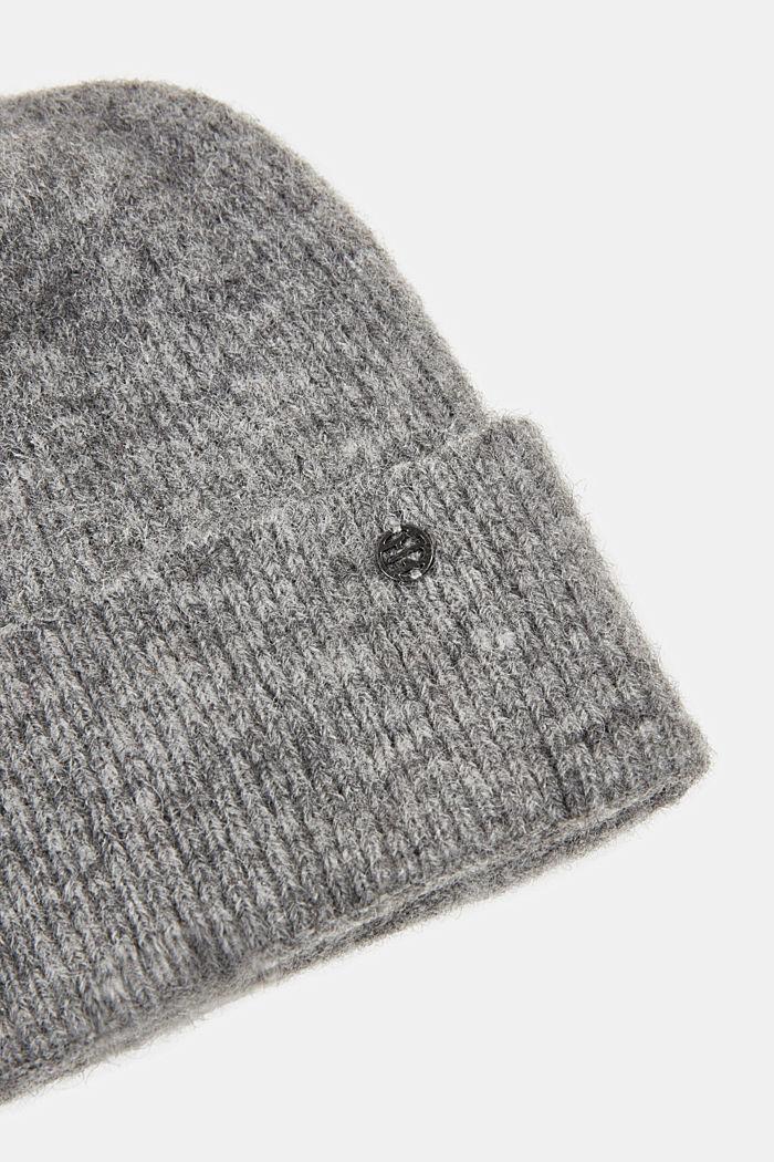 Wool blend: alpaca blend beanie, GUNMETAL, detail image number 1