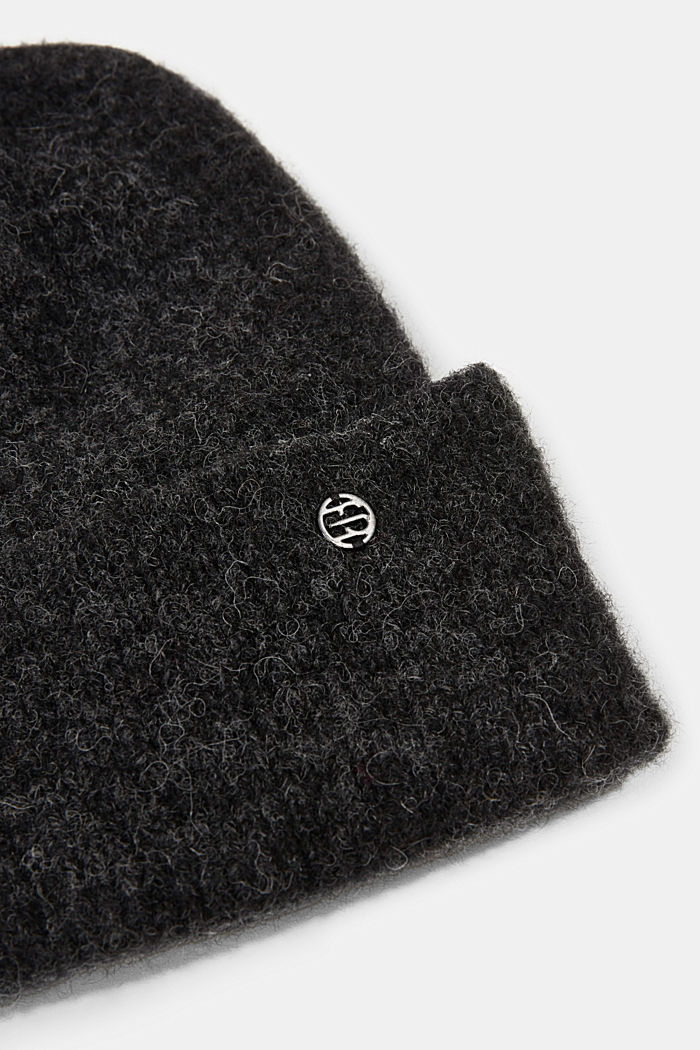 Wool blend: alpaca blend beanie, DARK GREY, detail image number 1