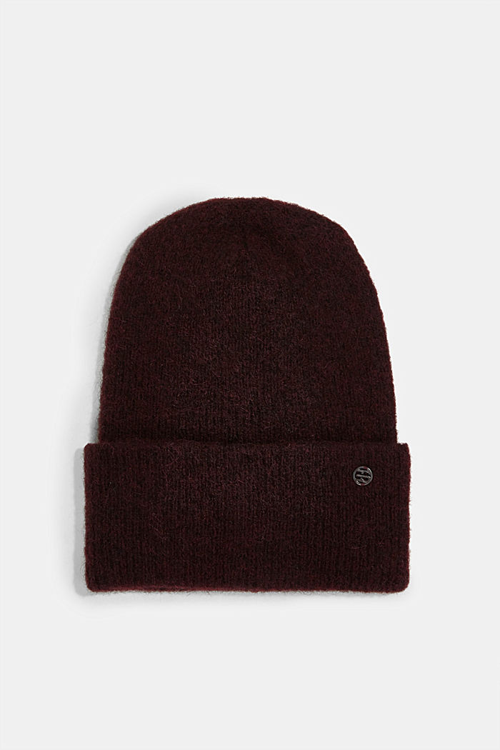 Wool blend: alpaca blend beanie, BORDEAUX RED, detail image number 0