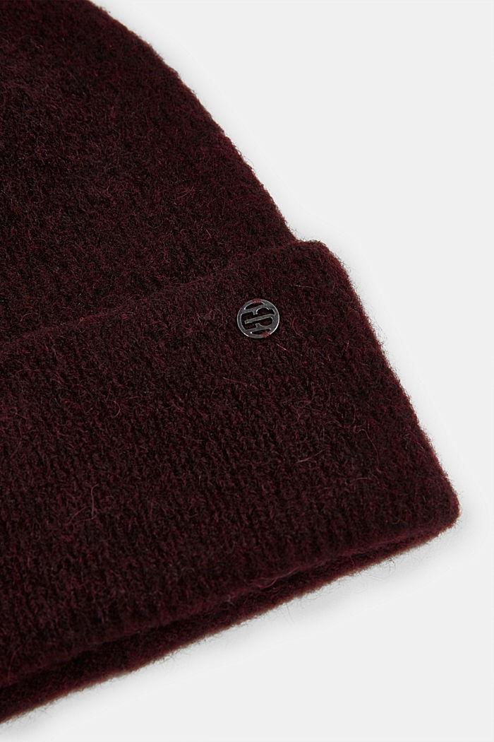 Wool blend: alpaca blend beanie, BORDEAUX RED, detail image number 1