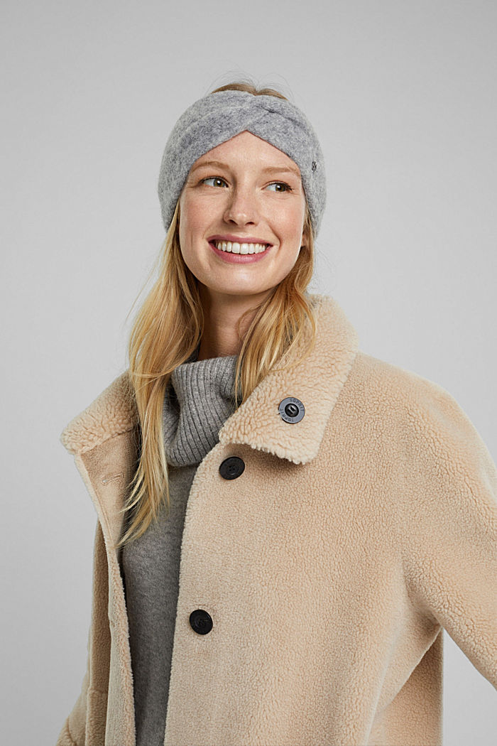 Wool blend: alpaca blend headband, GUNMETAL, detail image number 2