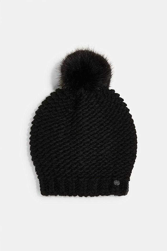Mit Alpaka und Wolle: Mütze mit Fell-Bommel