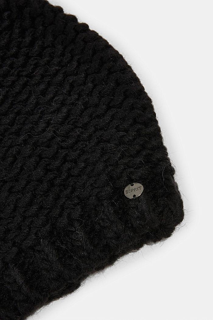 Alpaca-wool blend: hat with faux fur pompom, BLACK, detail image number 1