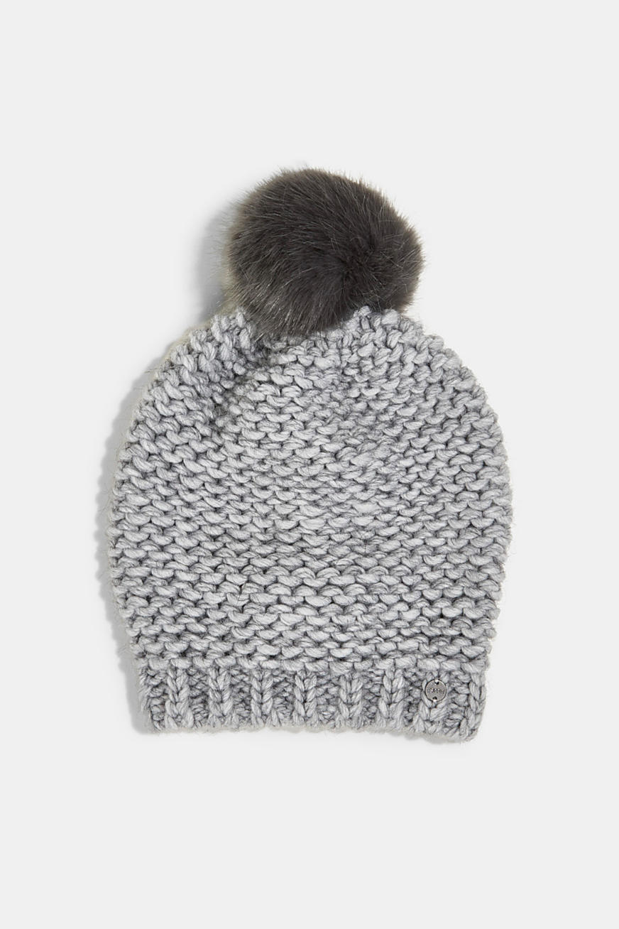 Alpaca-wool blend: hat with faux fur pompom