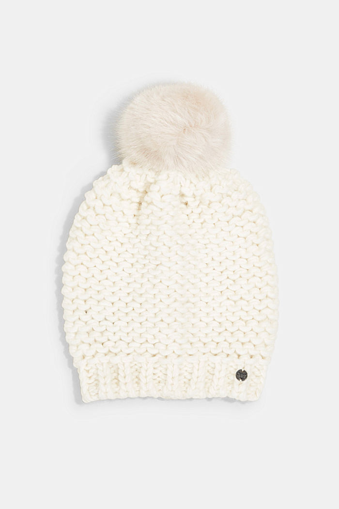 Alpaca-wool blend: hat with faux fur pompom, OFF WHITE, detail image number 0