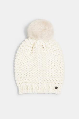 Alpaca-wool blend: hat with faux fur pompom
