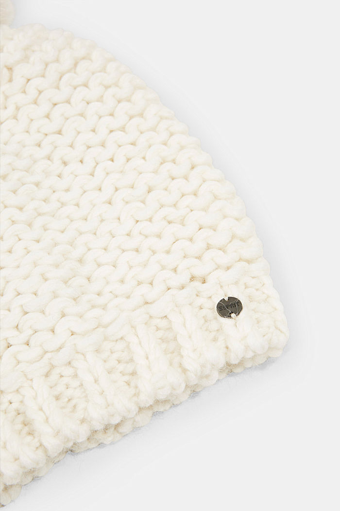 Alpaca-wool blend: hat with faux fur pompom, OFF WHITE, detail image number 1