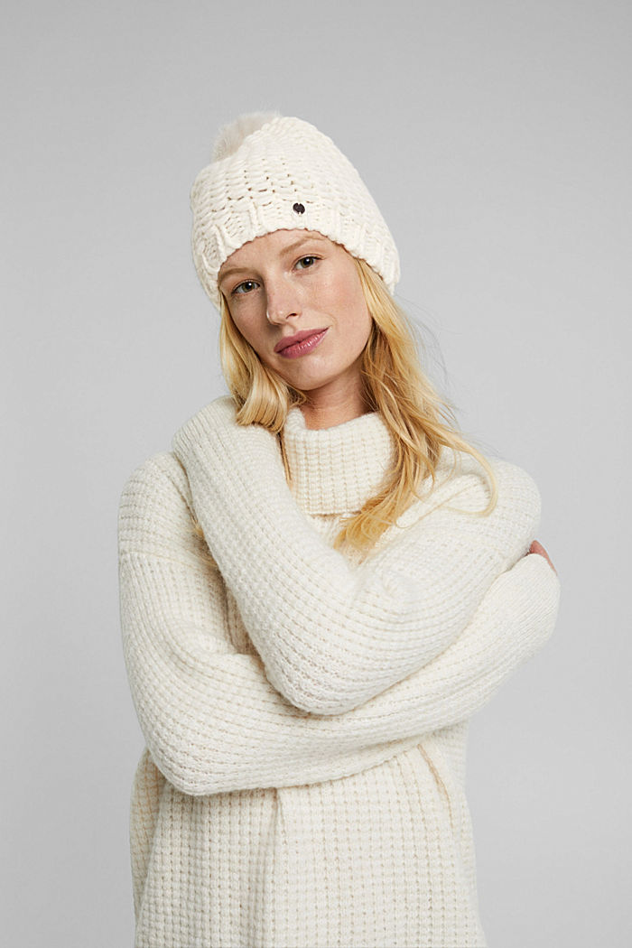 Alpaca-wool blend: hat with faux fur pompom, OFF WHITE, detail image number 2