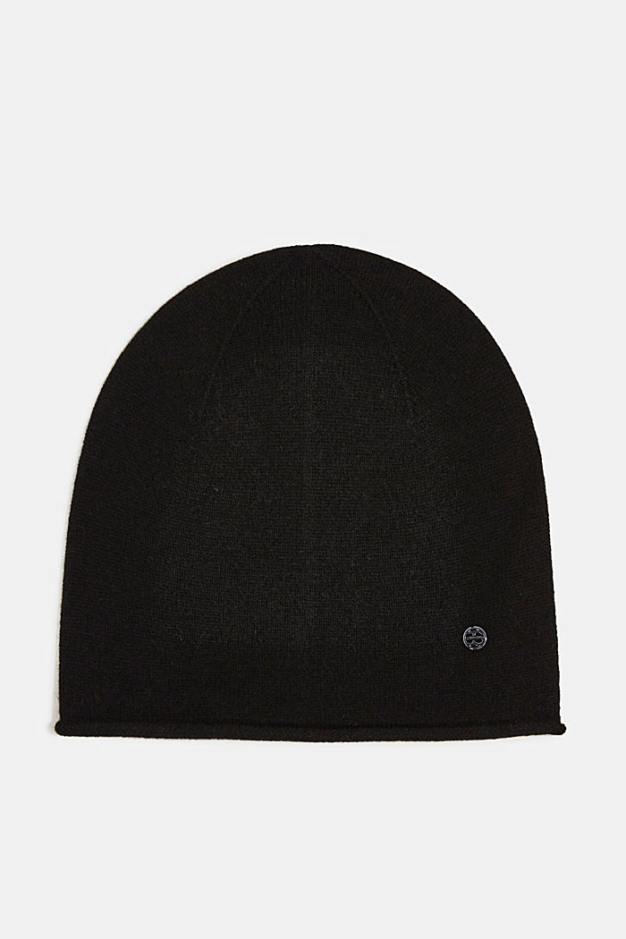 With cashmere: wool blend beanie, BLACK, detail image number 0
