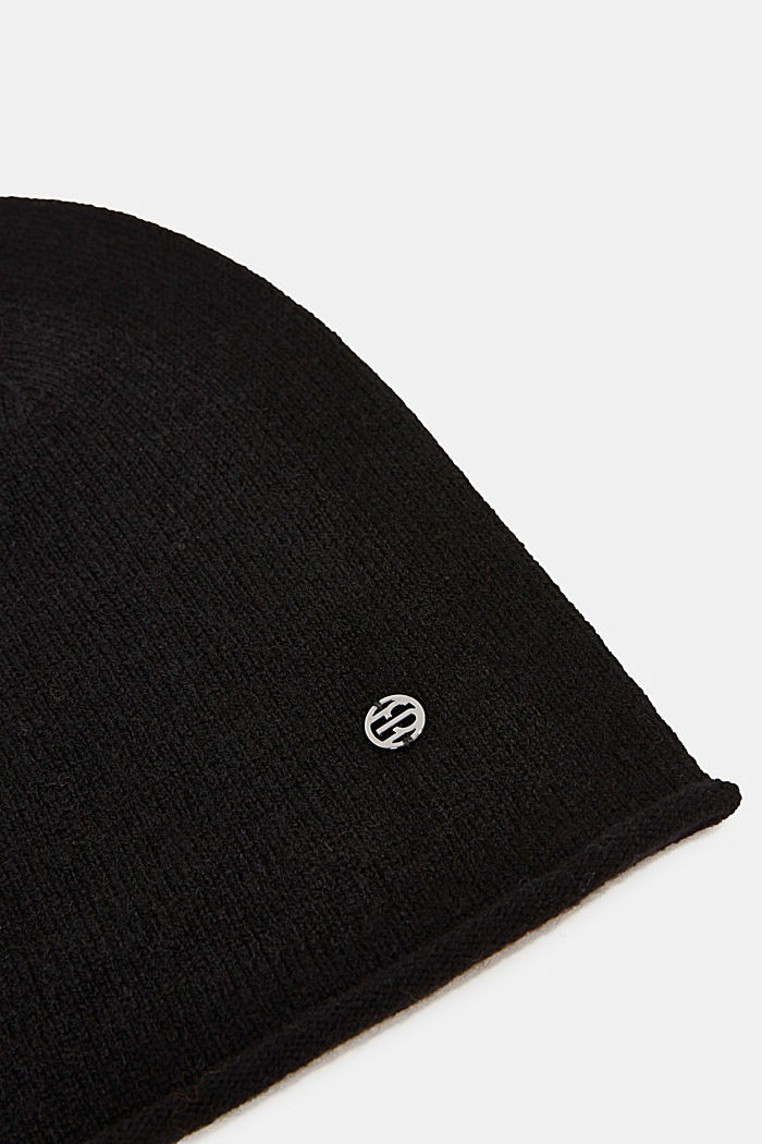 With cashmere: wool blend beanie, BLACK, detail image number 1