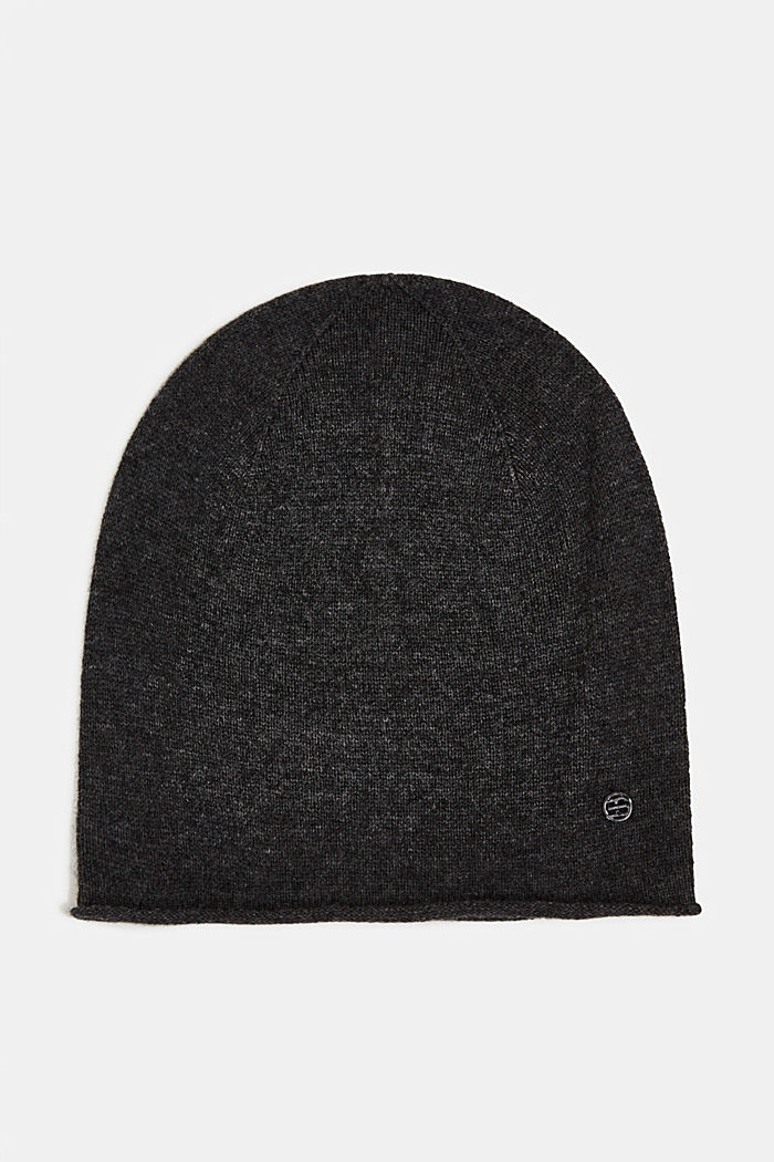 With cashmere: wool blend beanie, DARK GREY, detail image number 0