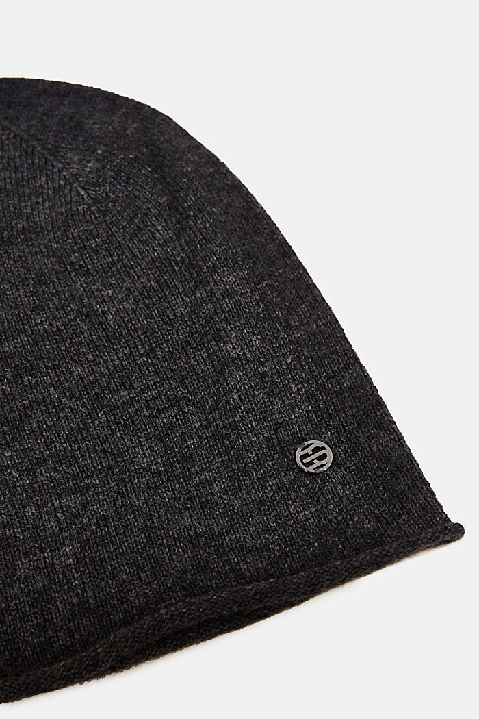 With cashmere: wool blend beanie, DARK GREY, detail image number 1
