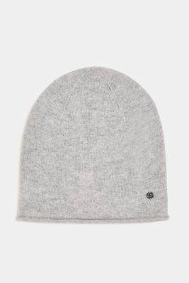 With cashmere: wool blend beanie, PASTEL GREY, detail